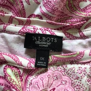 Talbots Tops - Talbots Pink/Green Printed Sleeveless Top Size 1X